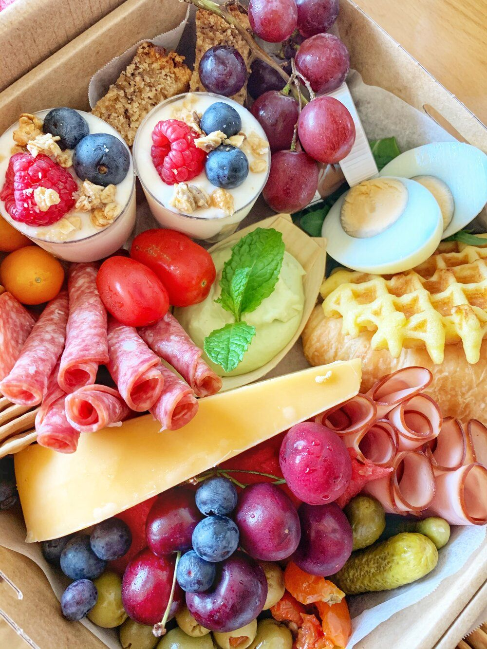 Brunch Grazing Box Yarrawonga Brunch Catering Catering Yarrawonga Wedding Catering Yarrawonga Graze Tables Pla In 2020 Brunch Catering Brunch Box Lunch Catering