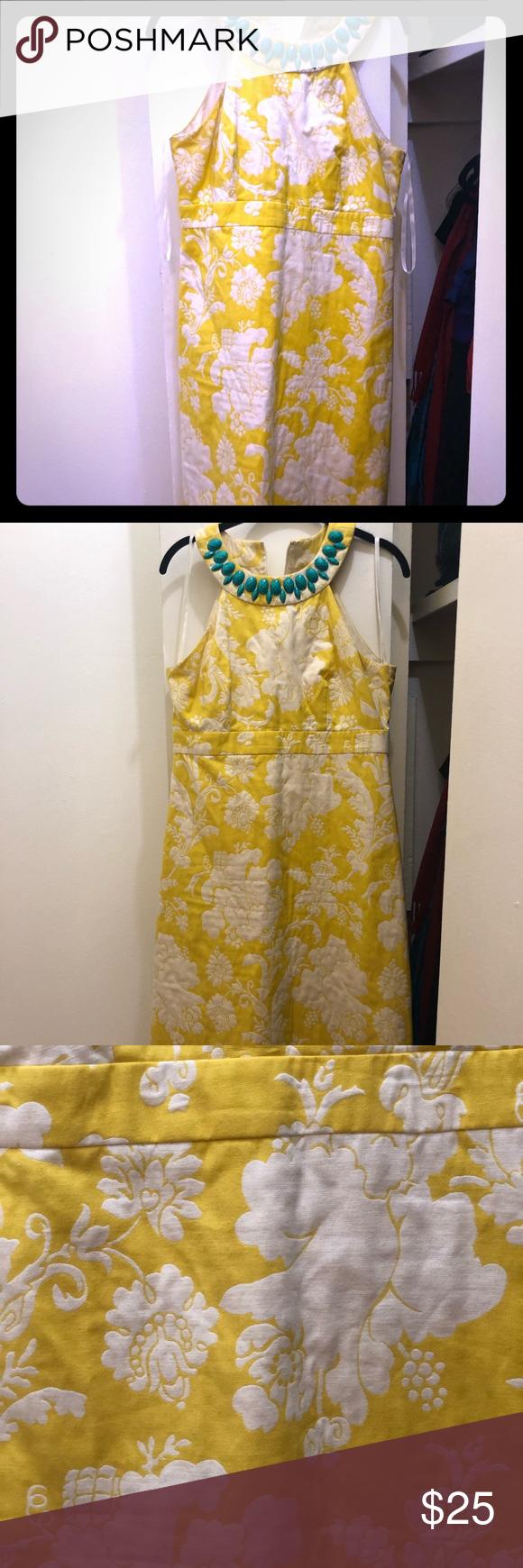 Yellow White Brocade Mid Length Dress By Eliza J Yellow And White Dress Yellow White Mid Length Dresses [ 1740 x 580 Pixel ]