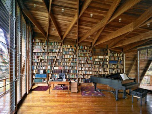 i want my studio to be lik this! instead of a piano, have an easil!  #art studio #room ideas #cabin