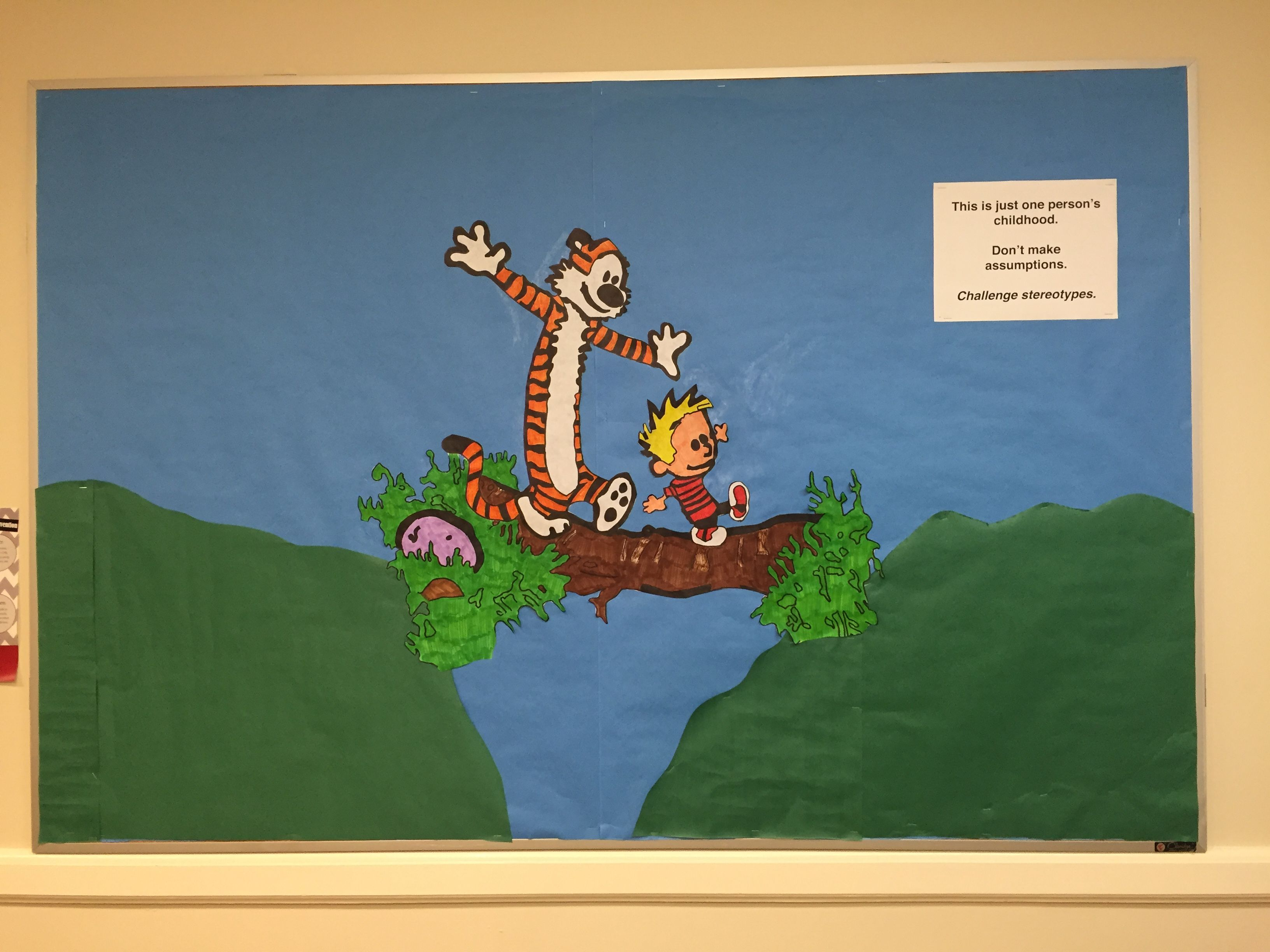 Calvin And Hobbes Themed Bulletin Board Cultural Diversity Theme The Paper Says This Is Just One Person S Chi Cultural Diversity Calvin And Hobbes Childhood