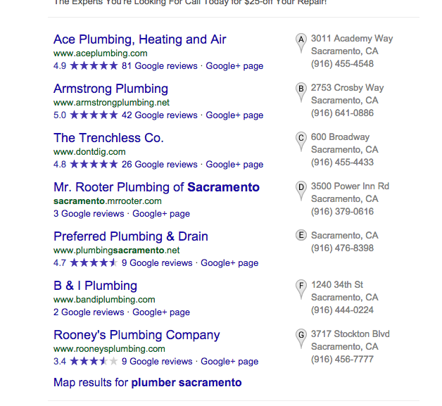 Sacramento Plumbers Seo This Is What I Saw On Google S Front