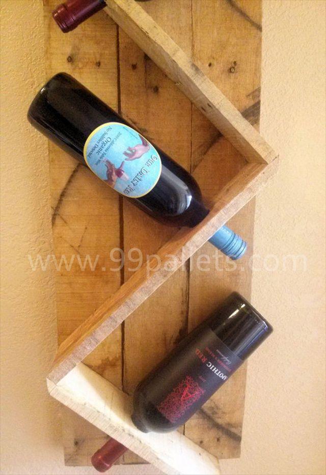 Diy unique pallet wine rack pallet wine racks pallet for Wine bottle shelf diy