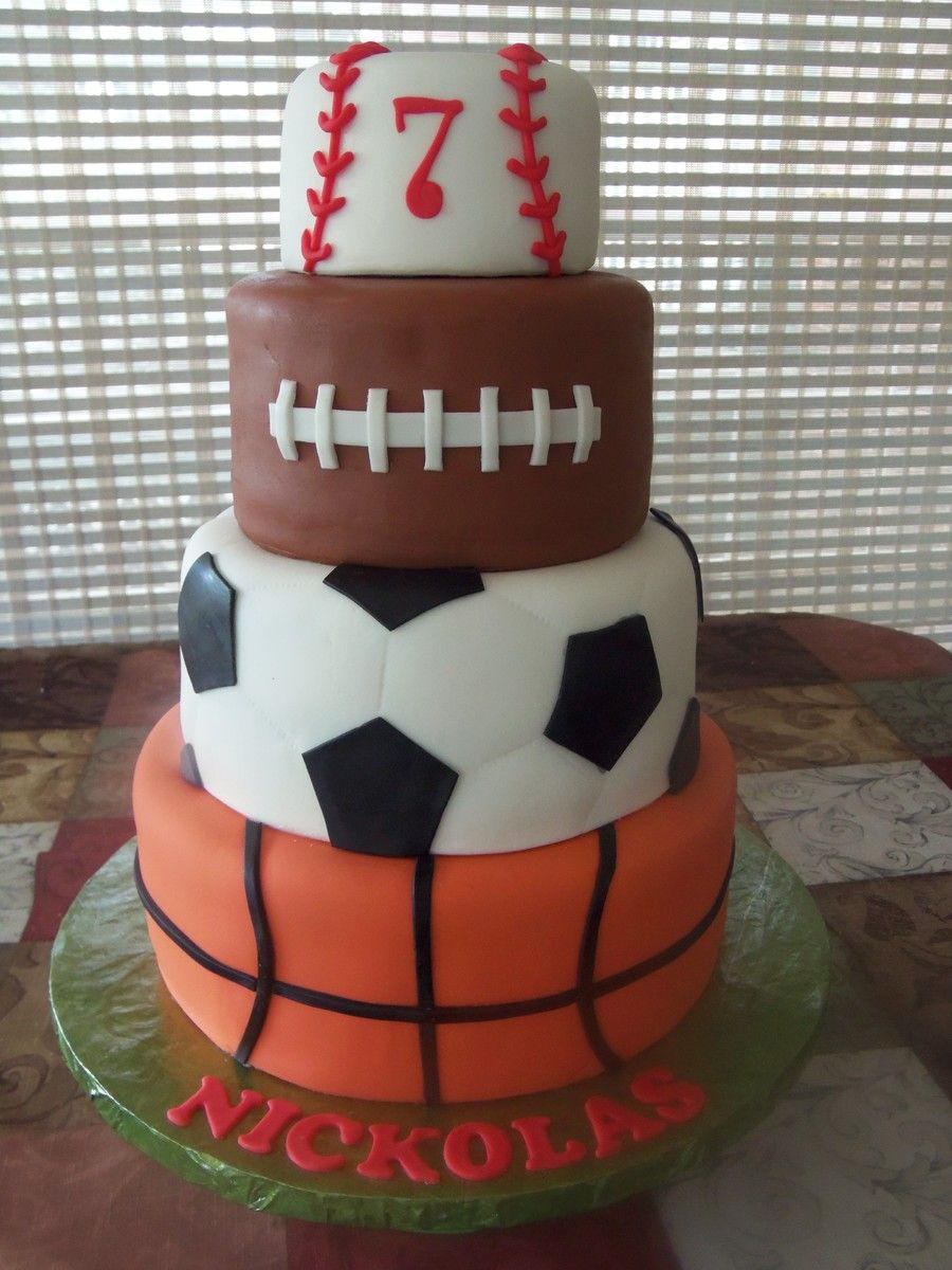 My sports cake Basketball, Soccer, Football and Baseball