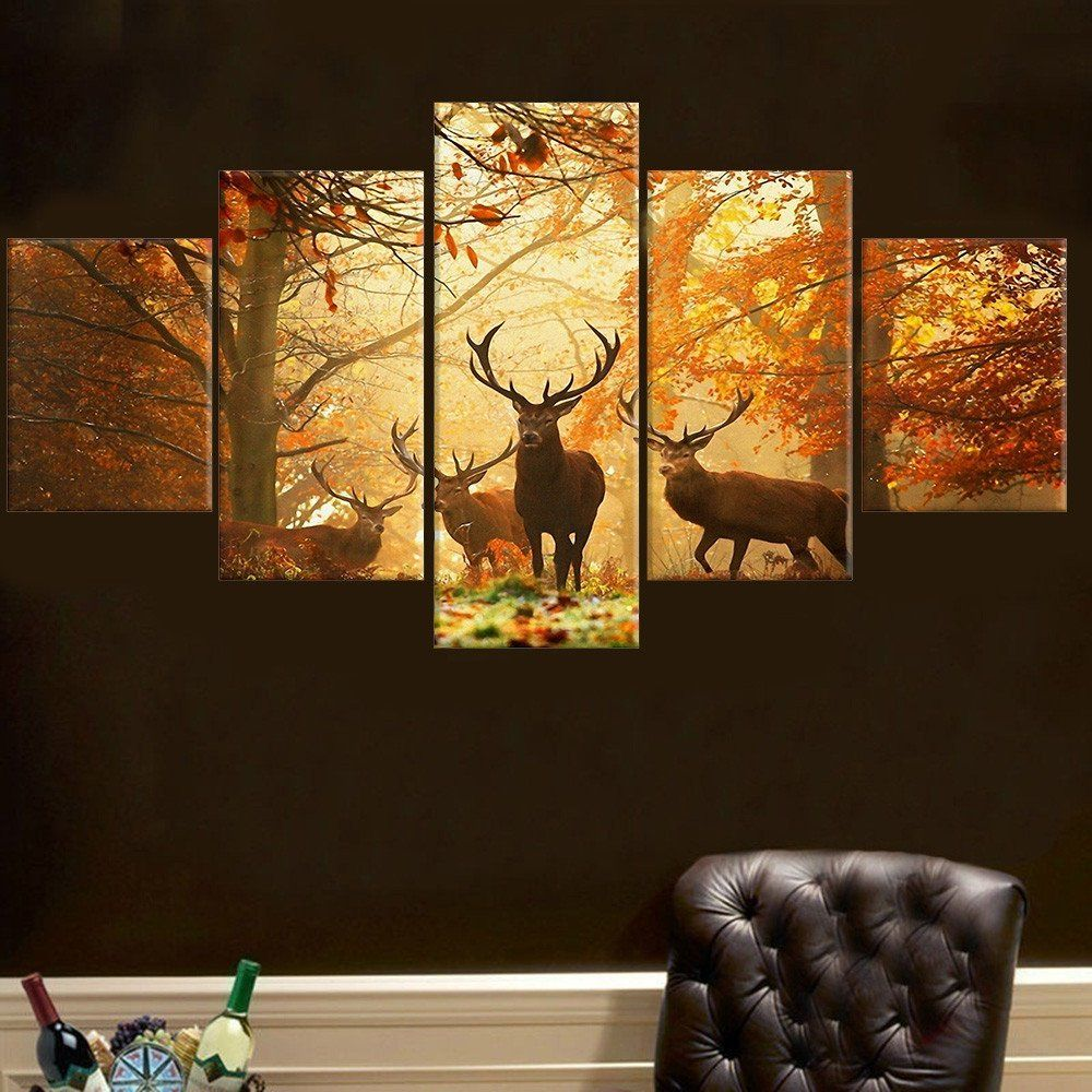 No frame pcs deer wall painting modern tree canvas painting art