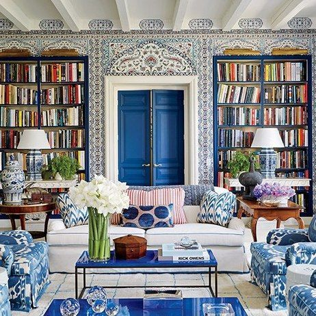 Family Room And Home Library With Moroccan Influences Design Interiordesign