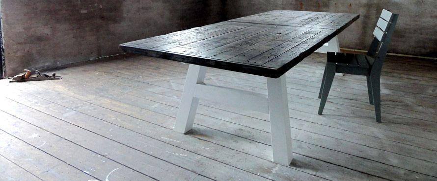 Tafel met blad van steenschotten woonkamer pinterest for Tafel van steenschotten