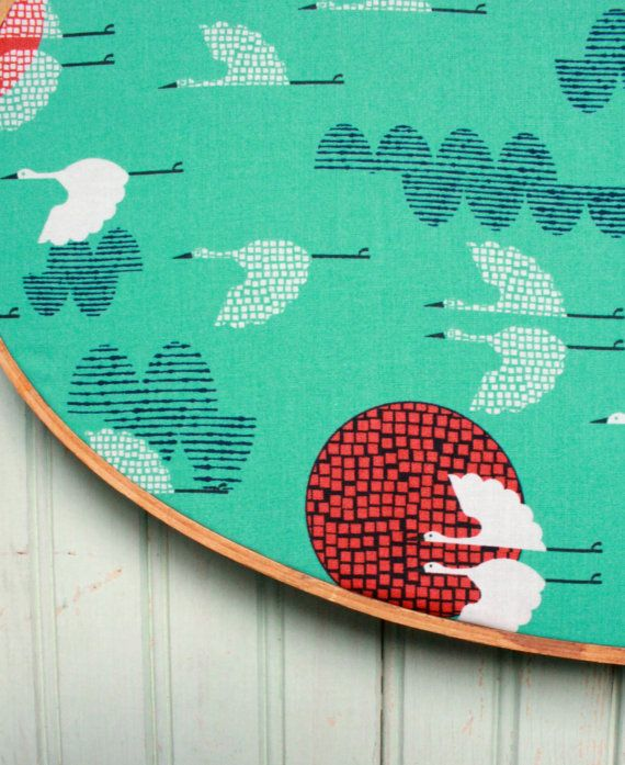 Organic 1000 Cranes Fabric Yard/Yardage  by worthygoodstextile, $11.95