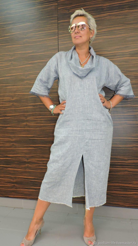 9e98c0aa2bc01 Купить или заказать Стильное платьеStreet-fashion из льна в интернет  магазине на Ярмарке Мастеров. С доставкой по России и СНГ. Срок  изготовления: 4-6дней.