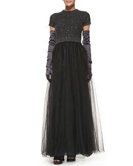 -589N Brunello Cucinelli Short-Sleeve Paillette-Top Tulle Gown & Satin Evening Gloves