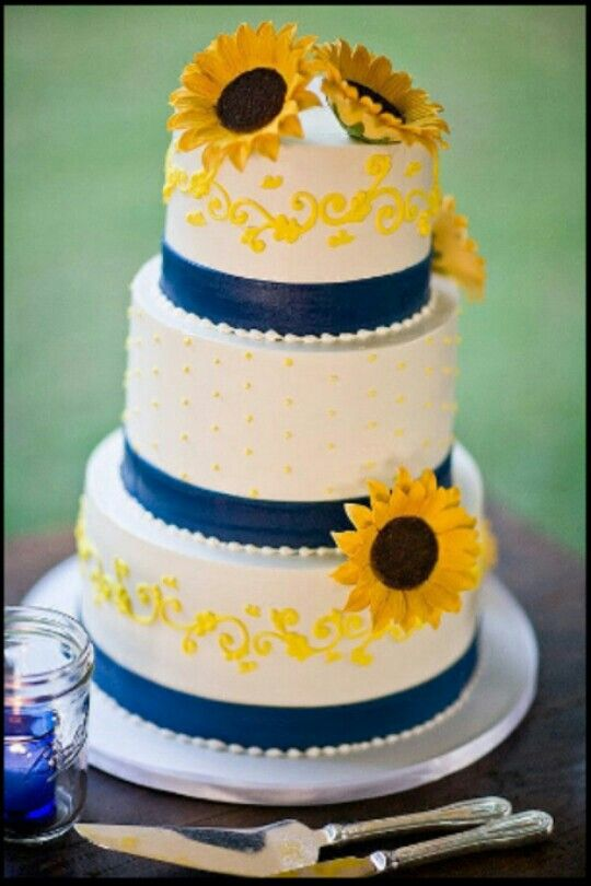 Sunflower And Royal Blue Wedding Cake With Images Sunflower