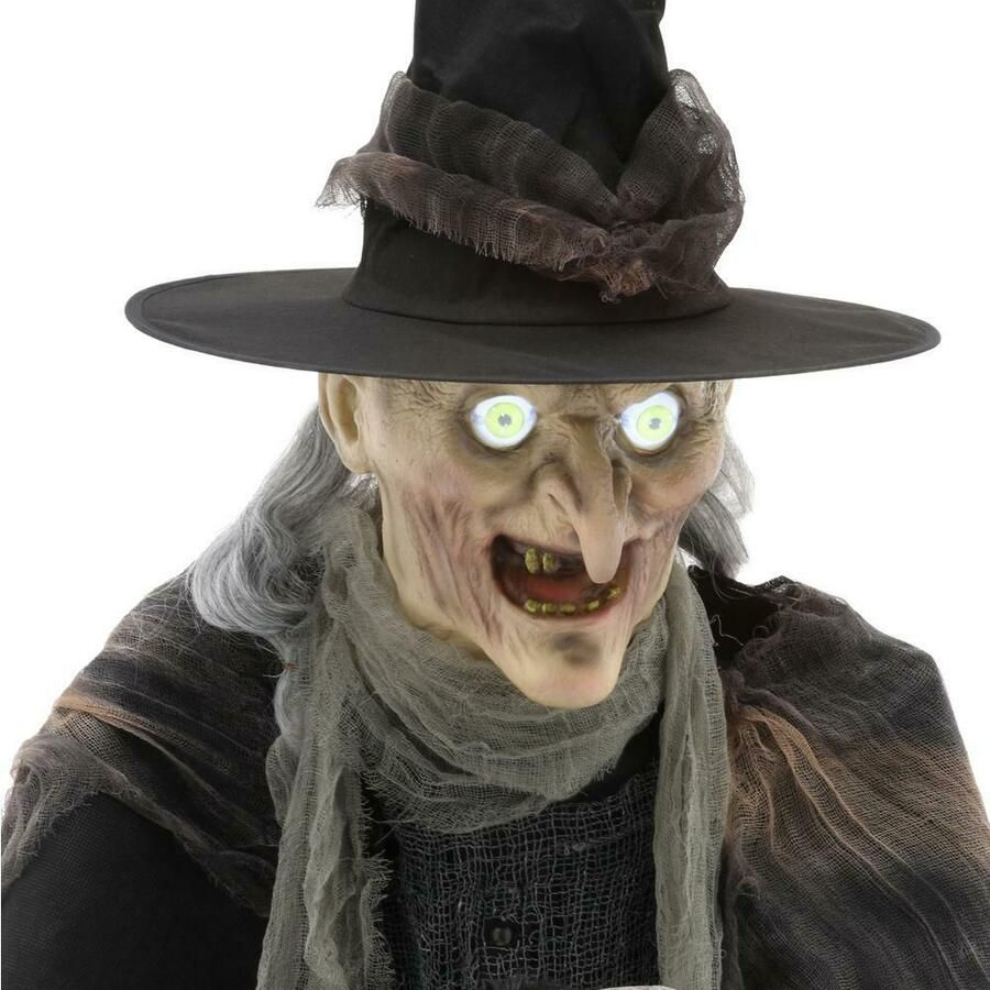 Mens Ladies Scary Halloween Witch Hair Hat Fancy Dress Costume Outfit Mask