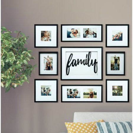 9 Piece Family Dãcor Frame Kit Black Walmart