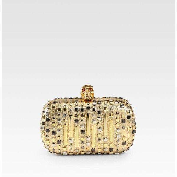 Alexander McQueen Studded Metallic Leather Skull Clutch ($1,875) ❤ liked on Polyvore