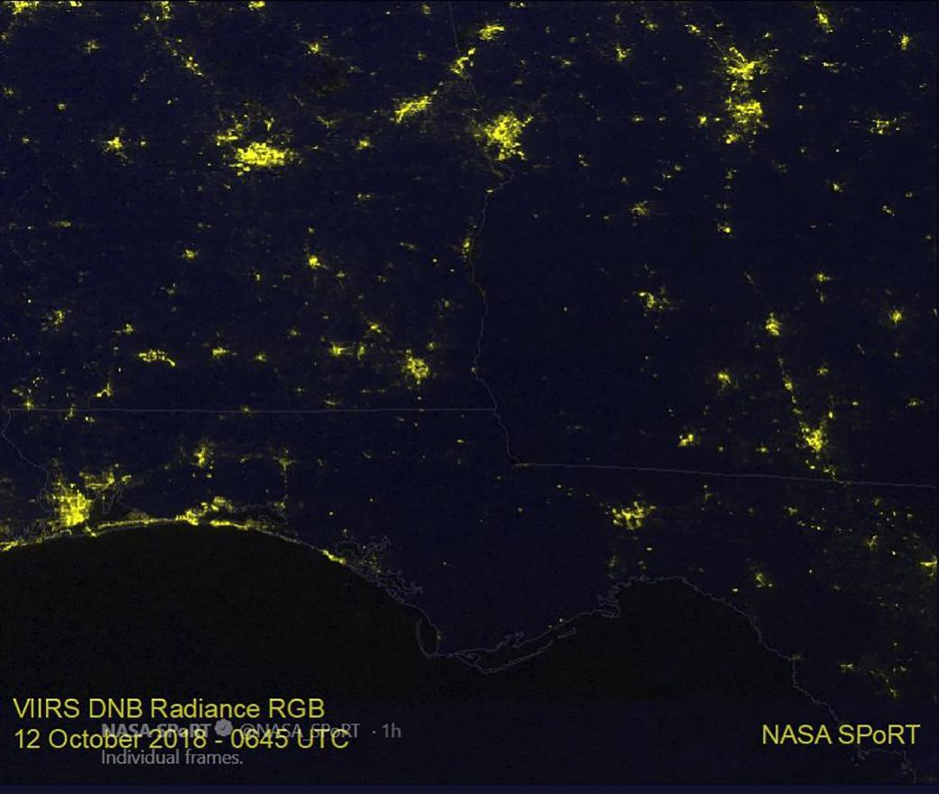 Hurricane Michael S Path Of Power Outages Seen By Satellite Science Nature Power Outage Life