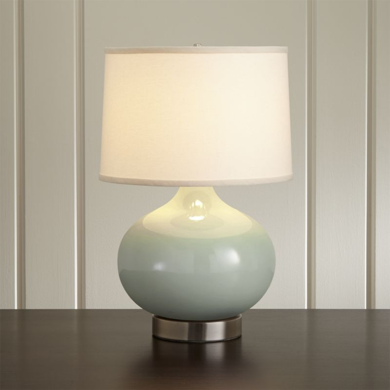 Merie Blue Table Lamp With Nickel Outlet Base Crate And Barrel Grey Table Lamps Blue Table Lamp Table Lamps For Bedroom