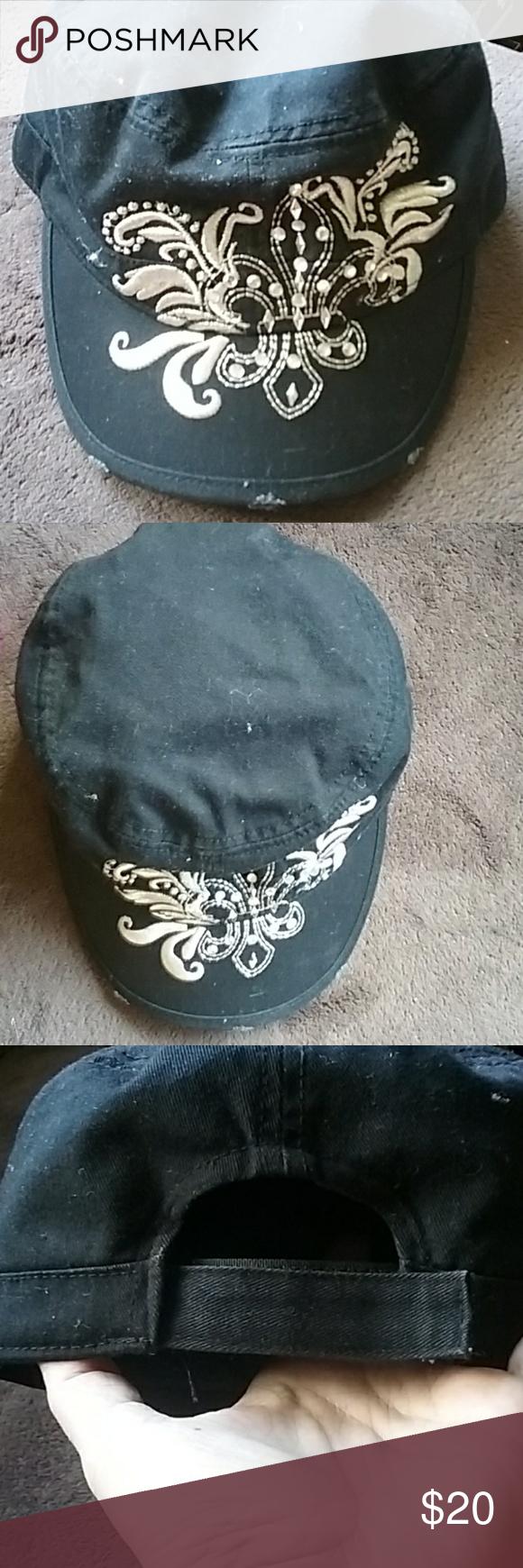 Brand New Fleur de Lis hat with rhinestones Brand new
