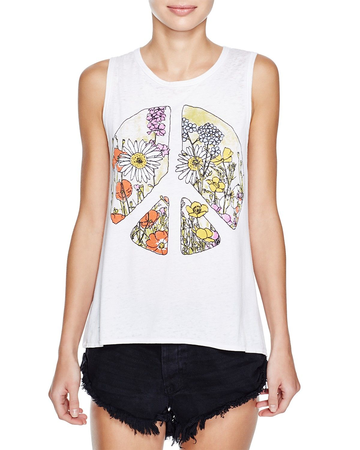 CHASER Peace Sign Flounce Tank