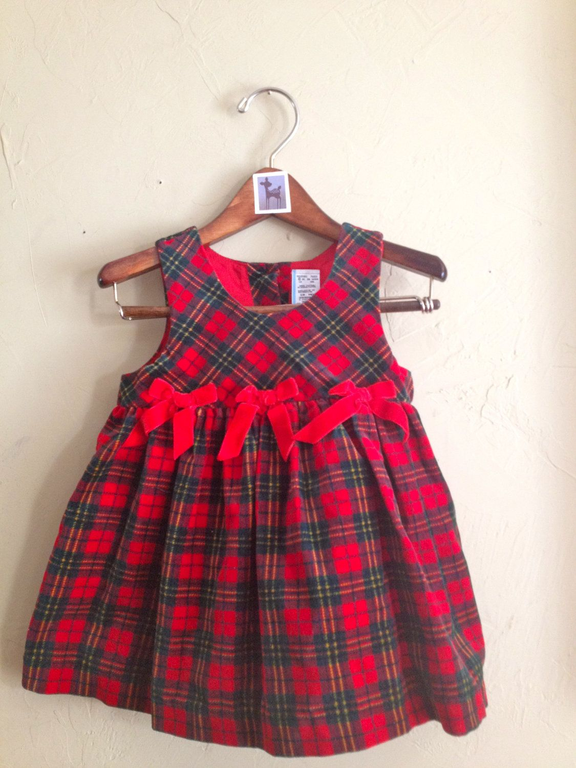 Vintage Red Plaid Velvet Dress 18m. $11.00, via Etsy.