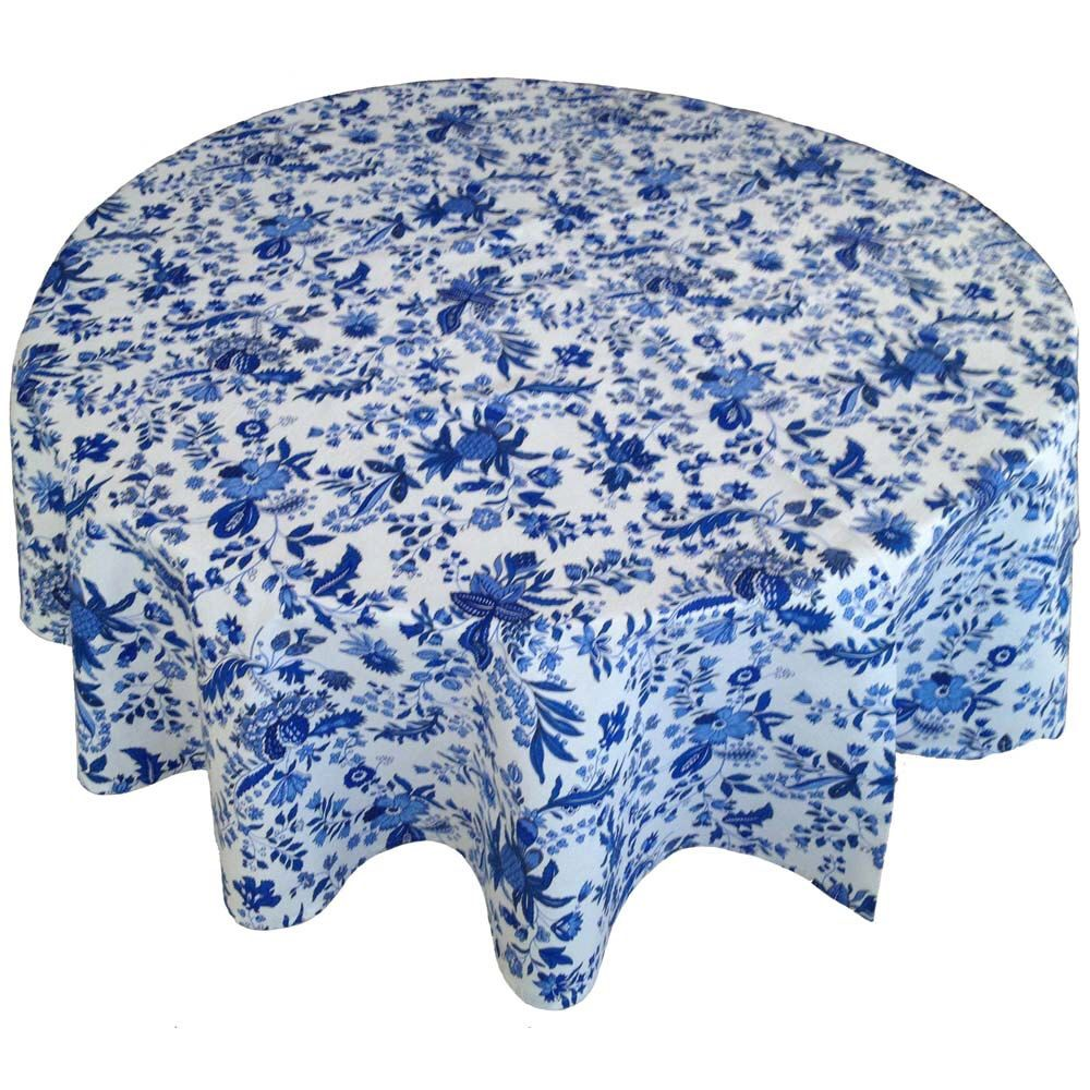 French Country Tablecloth, Provence Tablecloth, Blue And White Tablecloth, Round  Tablecloth By Cranberrymak