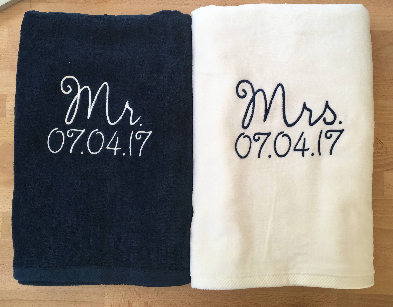 Mr Mrs Navy Blue White Beach Towel Beach Towel Beach