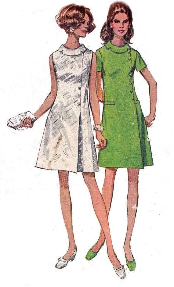 1970s Vintage Sewing Pattern Simplicity 8541 Side Buttoned Shift ...