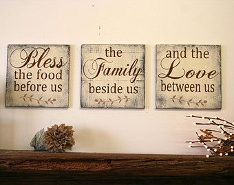 Bless The Food Before Us Wood Wallhanging Kitchen Sign Dining Room Distressed Home Decor Rustic Chic Wedding Gift By RusticlyInspired On