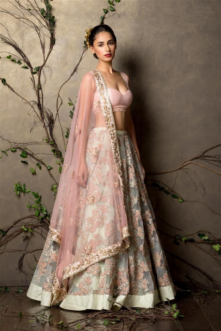 fe7b687ac461 SHYAMAL & BHUMIKA A Little Romance Collection Pistachio Green Embroidered  #Lehenga With Pink Embroidered #Blouse.