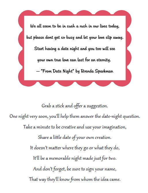 bridal shower idea place a jar this poem on a table have guest