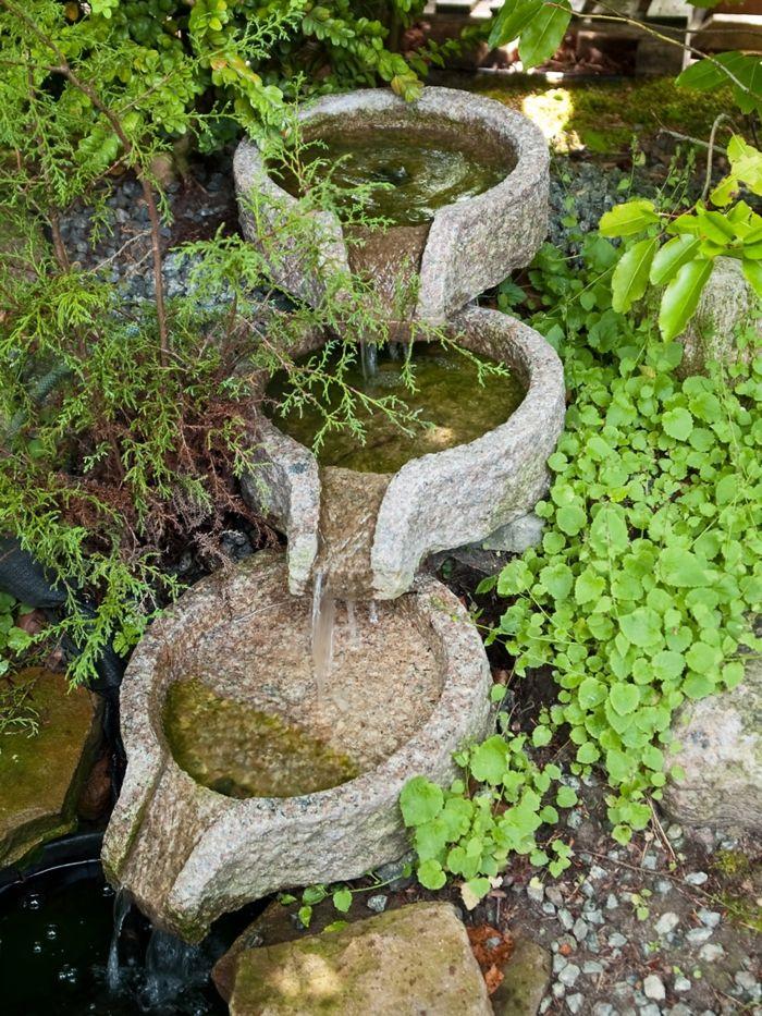 Wasserfall im garten fließendes wasser