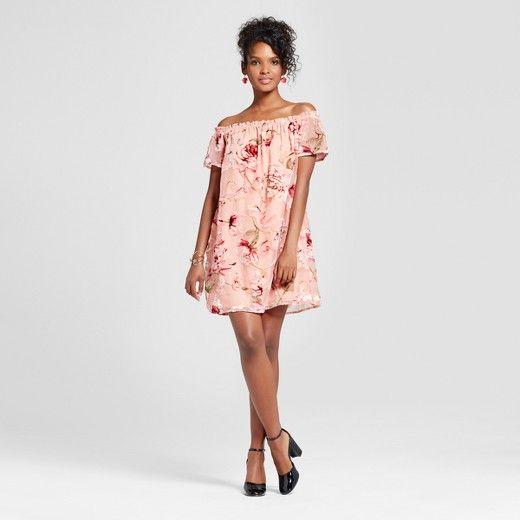 5f84c40e10ad7 Target - Xhilaration - Women s Velvet Burnout Off the Shoulder Dress   Pink
