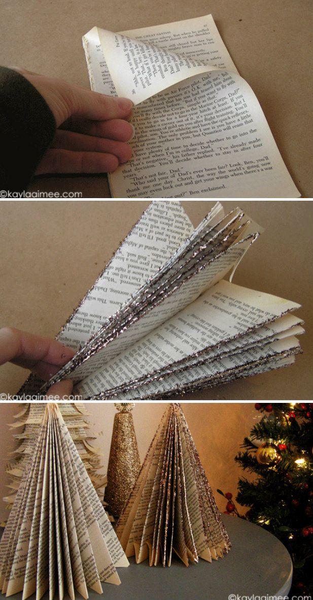 How To Make Paperback Christmas Tree Diy Crafts Handimania Book Christmas Tree Diy Christmas Tree Christmas Tree Toppers