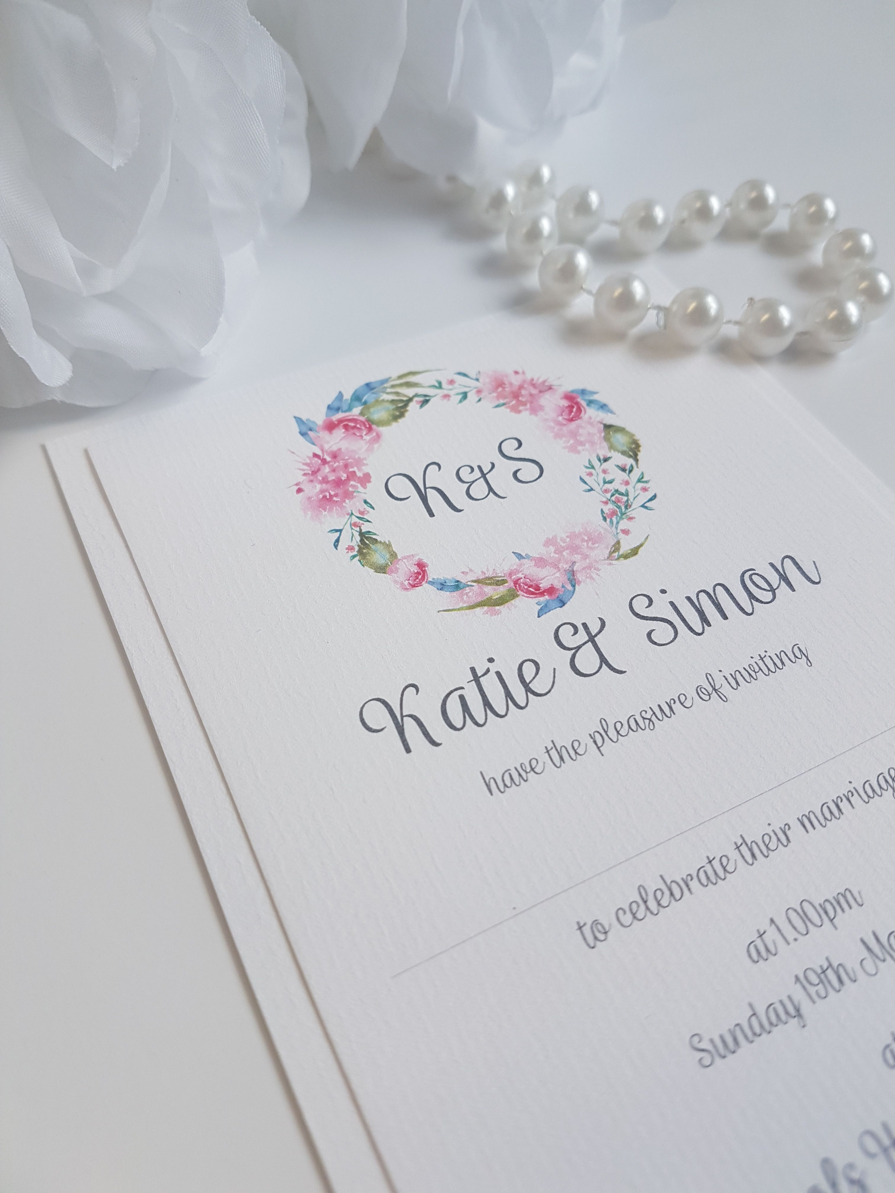 Really pretty pink peonies floral wreath themed wedding invitations ...
