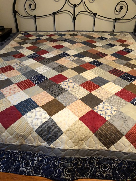 Farmhouse Living Full Queen Size Quilt Country Cottage Squares Red Blue Green Tan Farm Country Living Queen Size Quilt Country Blankets Cottage Quilt