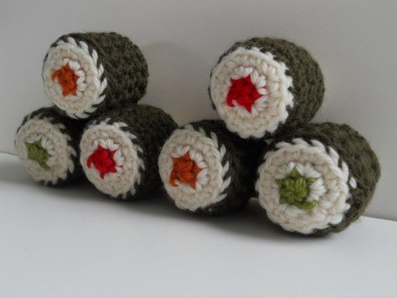 Amigurumi Crochet Play Food Sushi Rolls  Set of 6 by 72stitches, $24.00