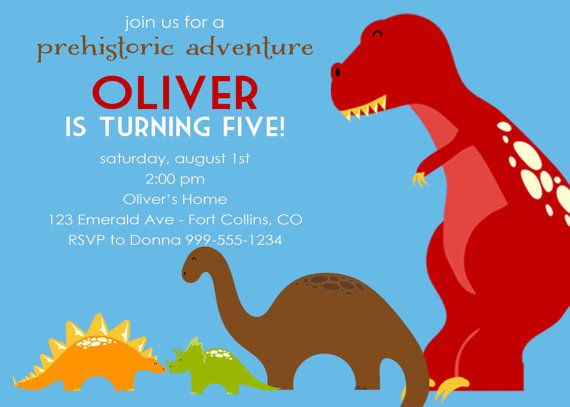 1st birthday party invitations with dinosaurs by katiedidesigns