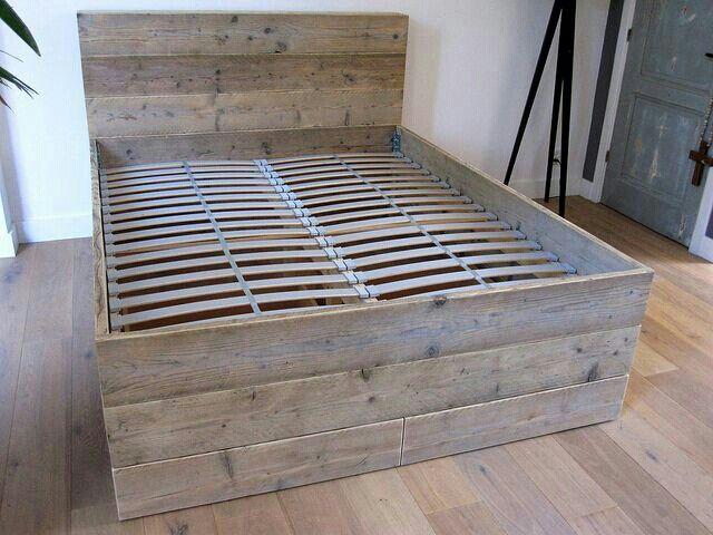 2 Persoons Bedombouw.2 Persoons Bed Van Oud Steigerhout Met Latten Bodem Bedhoofd 120cm