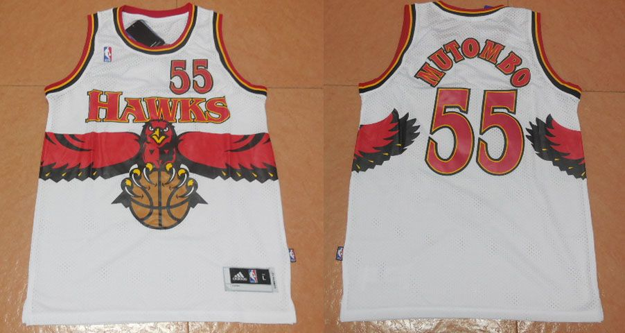 3b463109b Atlanta Hawks  55 Mutombo White Throwback Men 2017 New Logo NBA Adidas  Jersey