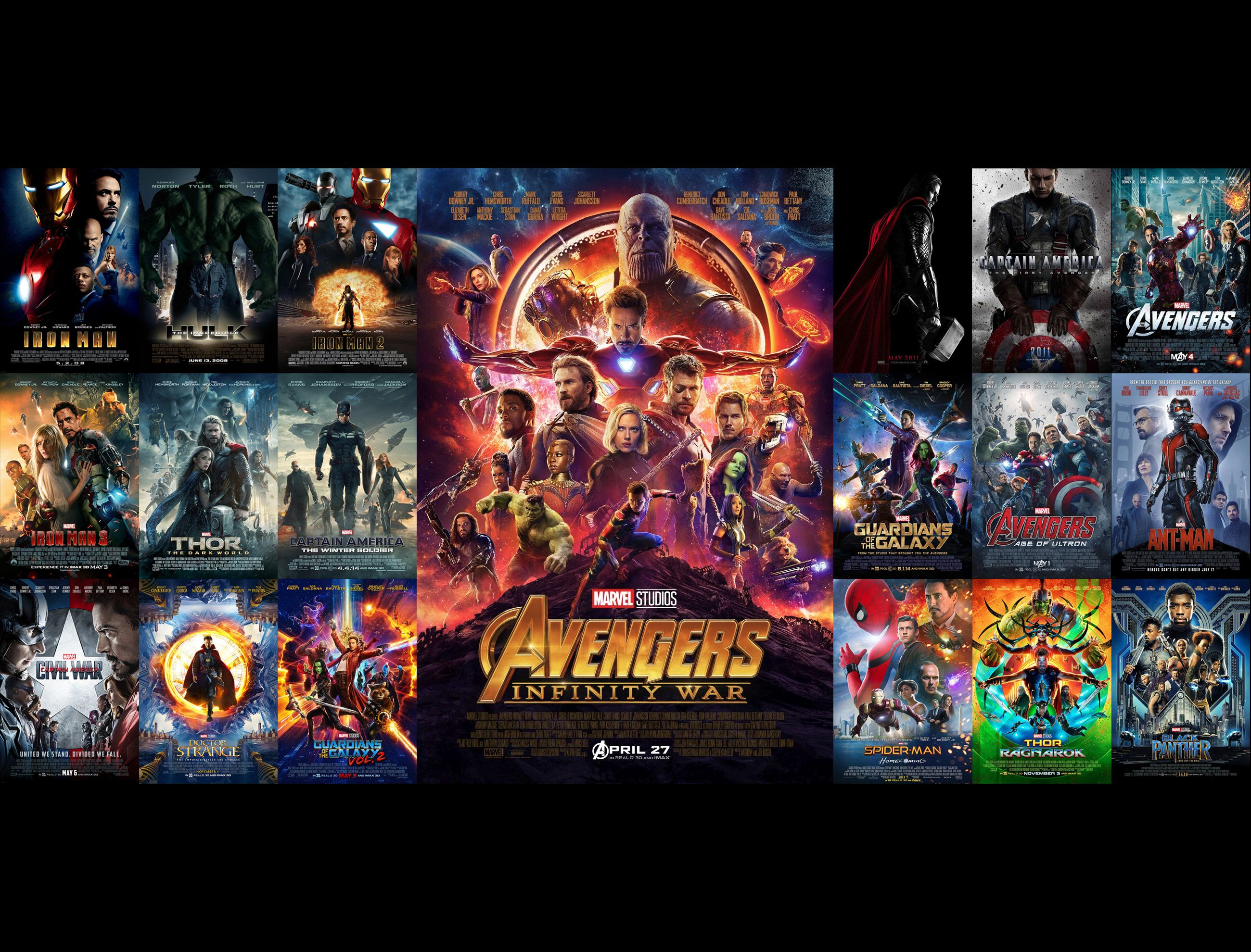 Simple Wallpaper I made with the 19 posters of the MCU