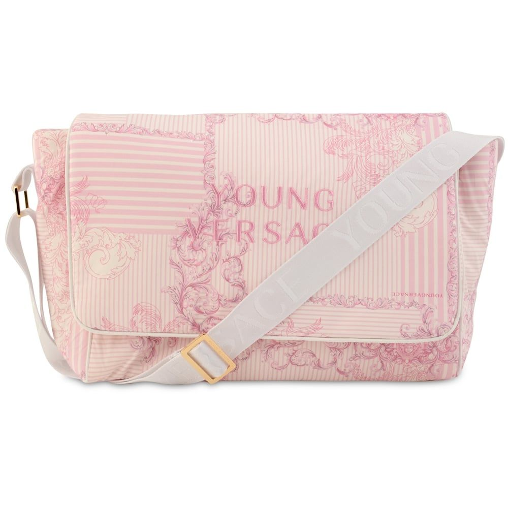 291c60f7d994 Young Versace Baby Girls Pink Changing Bag with White Branded White Strap  and Pink Logo