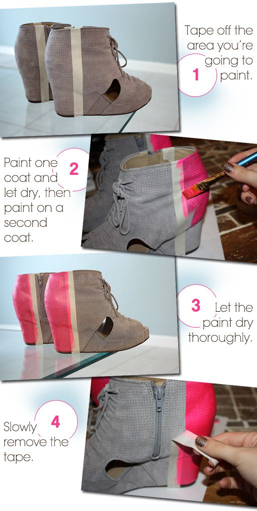 DIY: Colorblocked Shoes... These shoes were ugly to begin with. The paint job made them even worse.