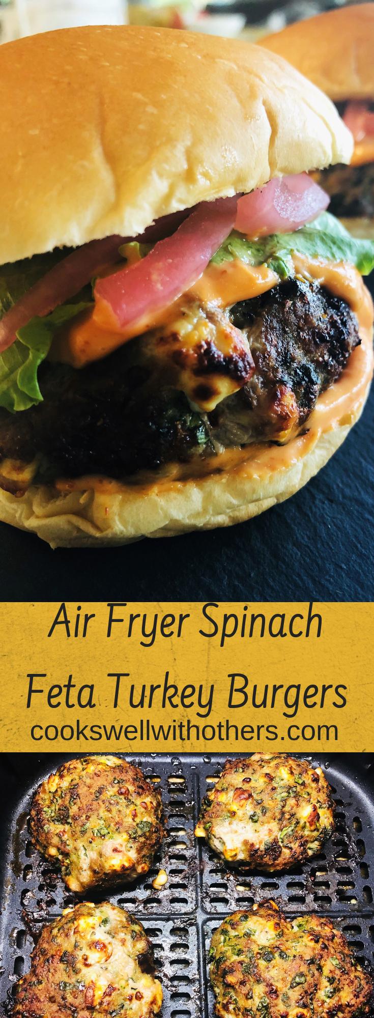 Air Fryer Spinach Feta Turkey Burgers Air fryer recipes