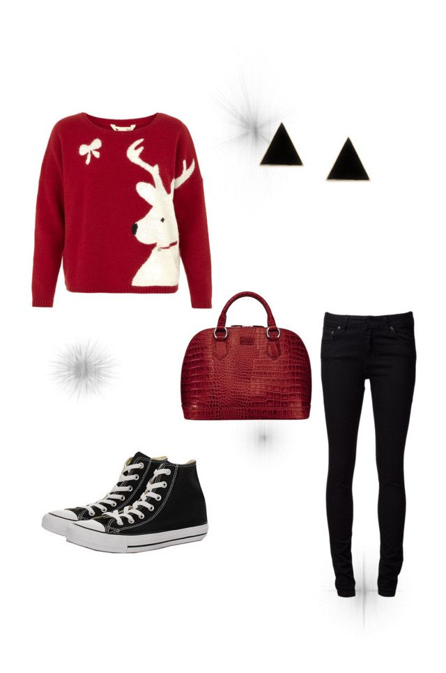 """""""Ugly Christmas sweater time!!"""" by methuselahhoneysuckle13 ❤ liked on Polyvore featuring Yumi, Naked & Famous, Converse and Osprey London"""