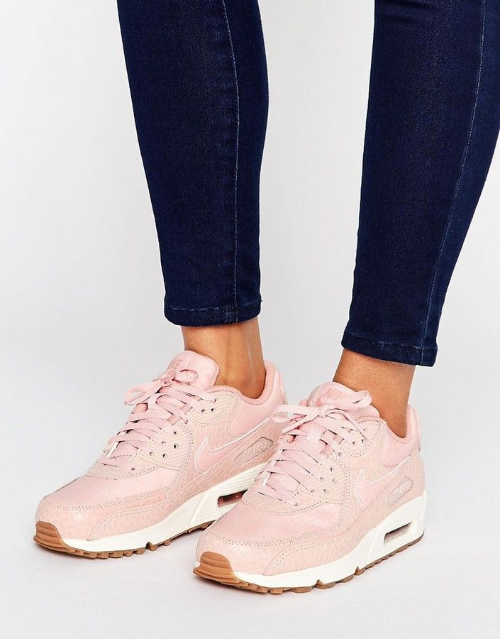 new product 2559f 8f675 Nike Air Max 90 Premium Trainers In Pink