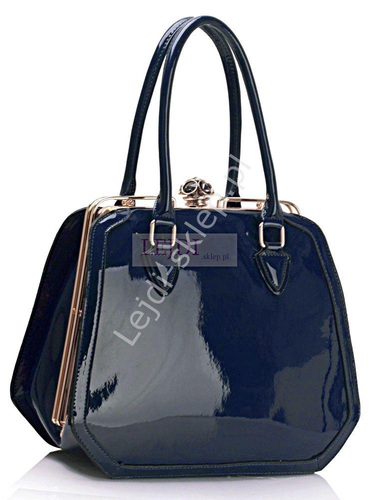 Lakierowana Granatowa Torebka Bags Top Handle Bag Fashion