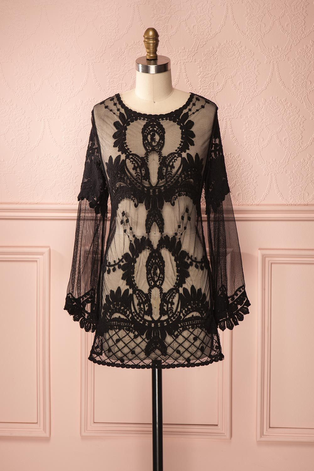 Skylar black black lace longsleeved seethrough shirt fashion