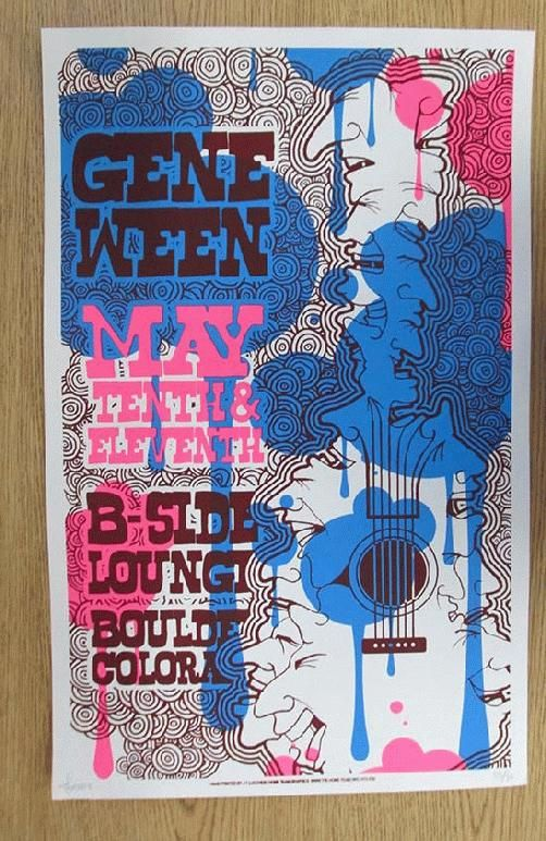 Original silkscreen concert poster for Gene Ween at The B-Side Lounge in Boulder, CO in 2009. 14 x 22 inches. Signed and numbered 55/70 by the artist J.T Lucchesi. Bottom right corner bend