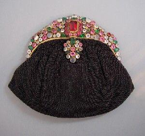 HOBE jeweled purse frame on a black glass bead purse