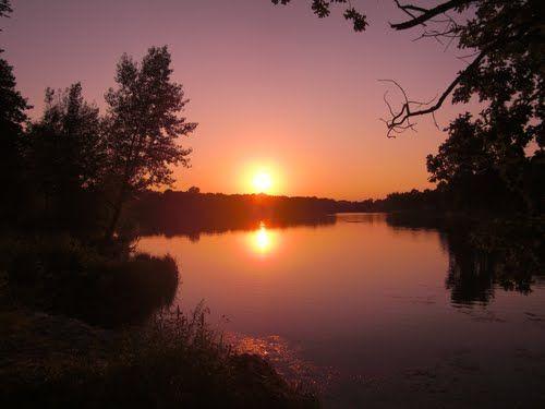 Auwaldsee/Auwald Lake at sunset, Ingolstadt, Bavaria, Germany