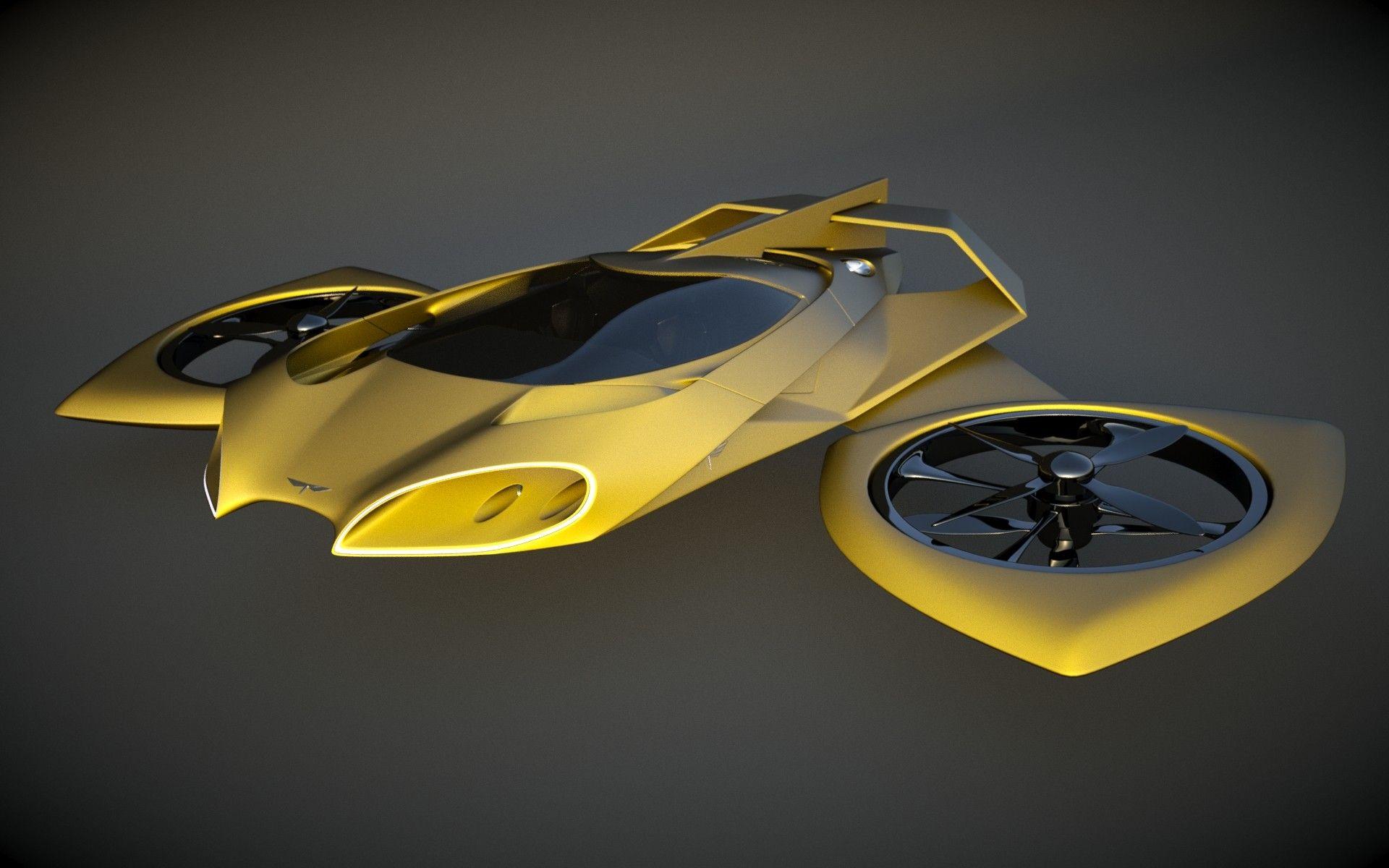 Heli Designed 3d Model Flying Car Futuristic Cars Future Flying Cars