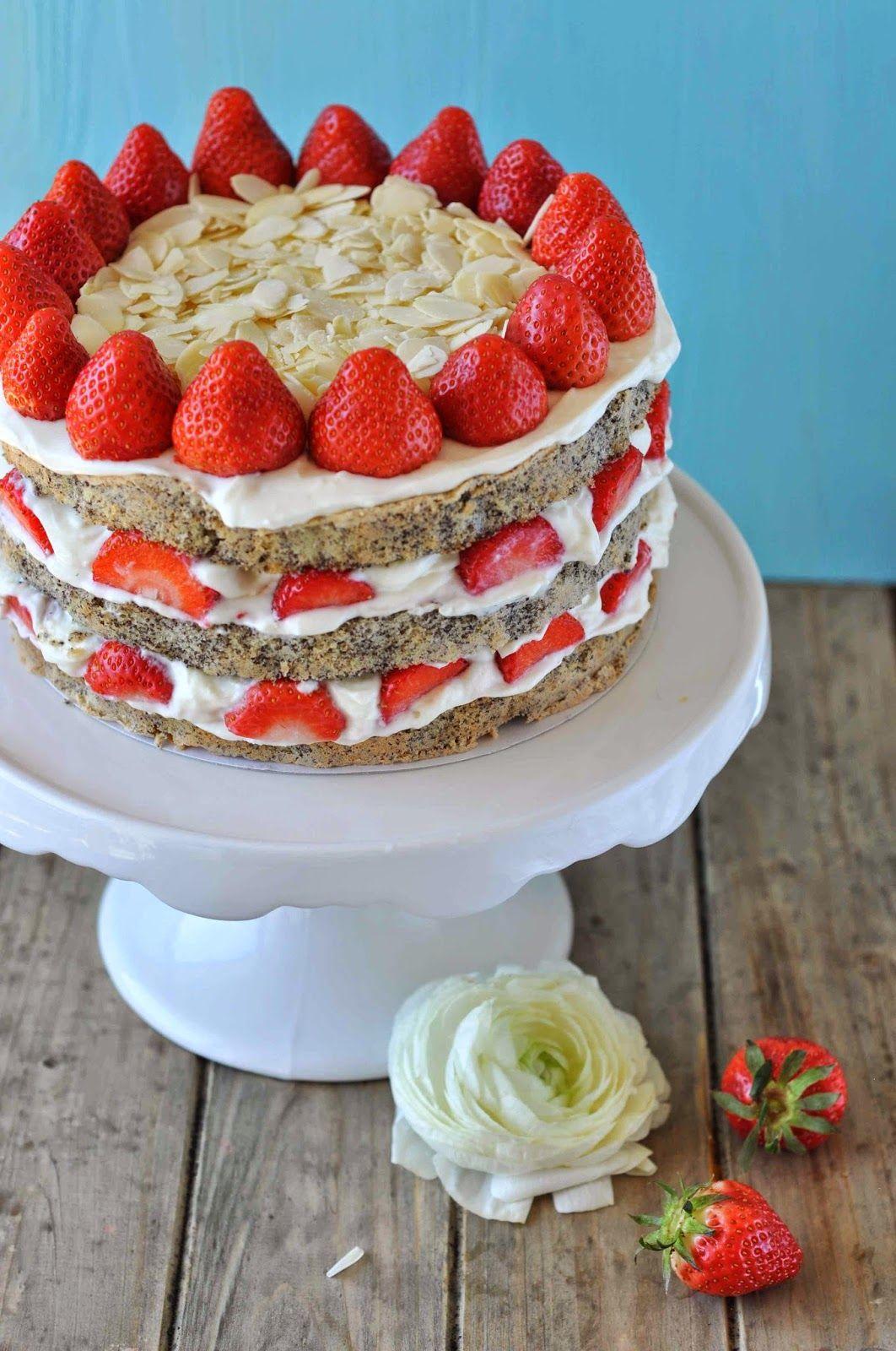 mohn erdbeer t rtchen torte quark sahne mandeln sommer lecker rezept einfach kuchen cake love. Black Bedroom Furniture Sets. Home Design Ideas